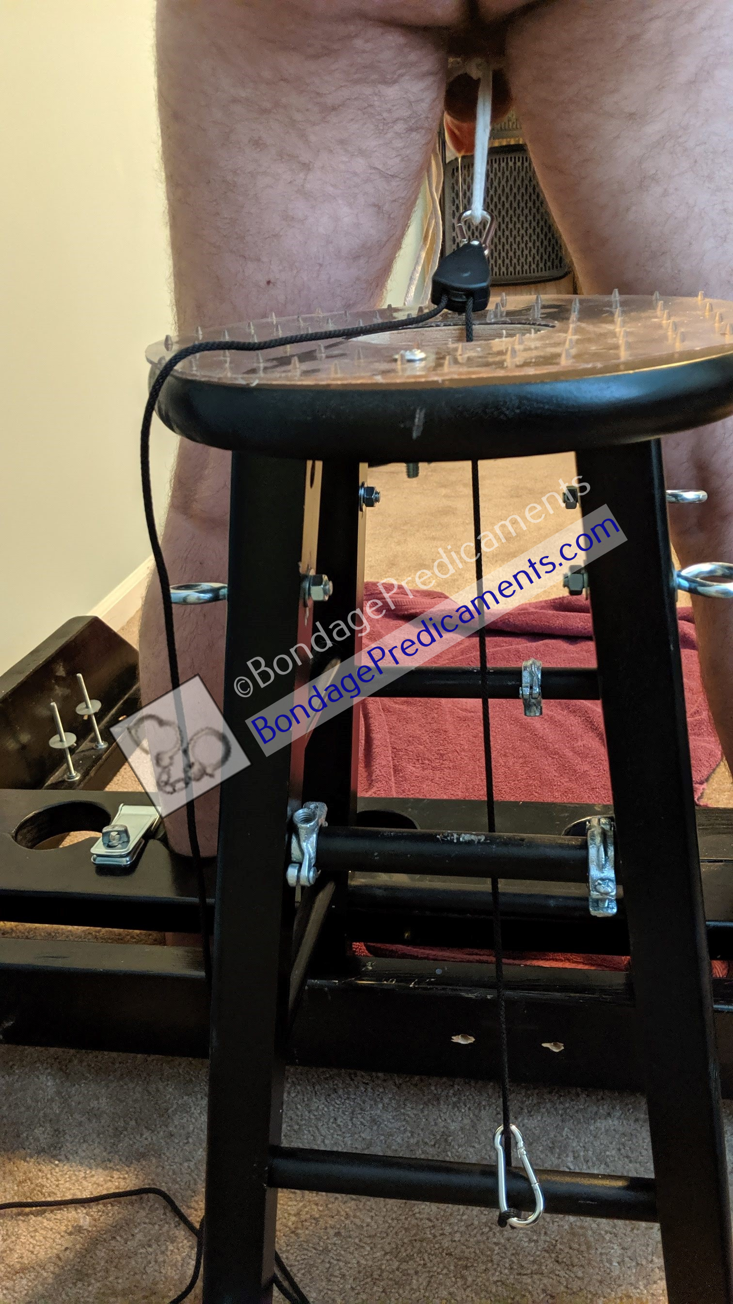 Gay Sub Spiked Bondage Stool