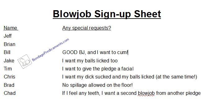 Blowjob Signup Sheet