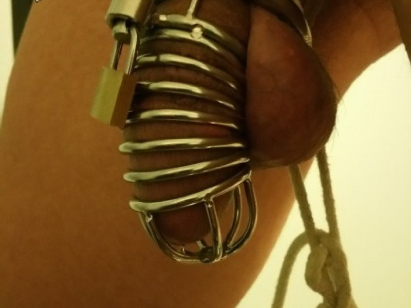 Gay Sub Stretched on Rack Chastity