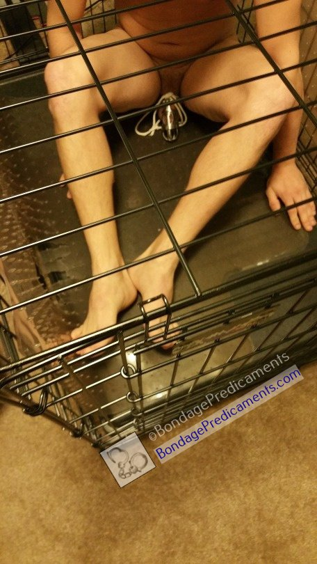 Gay Sub Locked in Cage Spiked Mat Chastity